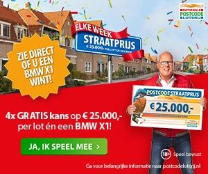 De Straatprijs Postcodeloterij winnen? Kans op BMW X1