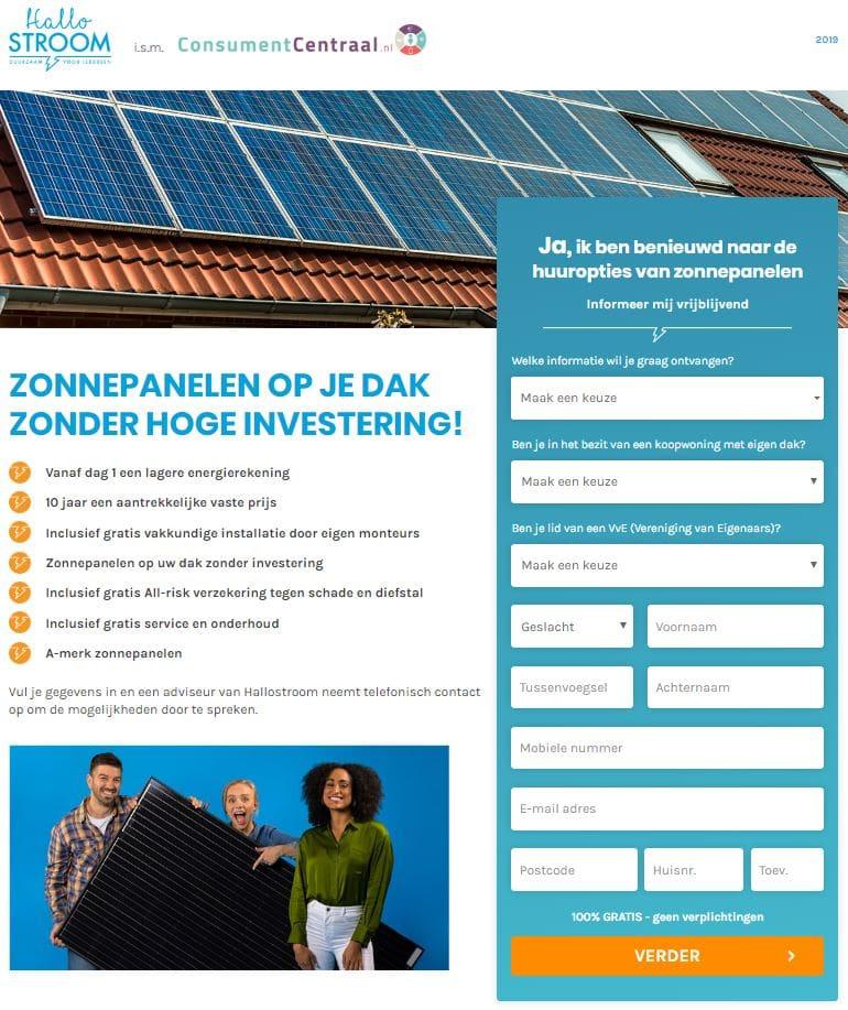100% zonne-energie zonder investering bij Hallostroom