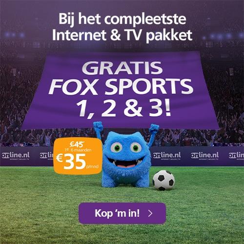 Gratis Fox Sports 1, 2, en 3 bij Online.nl
