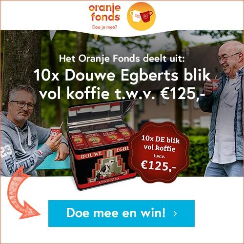 Dit jaar organiseert het Oranje Fonds Burendag 2021. Wil jij kans maken op een blik vol Douwe Egberts koffie t.w.v. € 125,-?