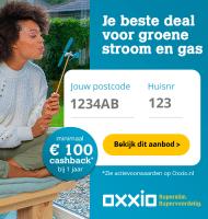 Extra cashback van € 100.- bij Oxxio energie