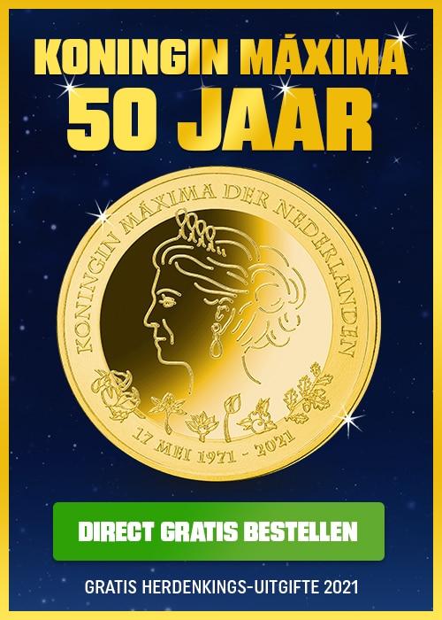 Gratis unieke Koningin Maxima 50 jaar munt