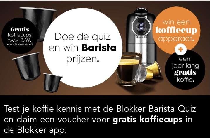 BlokkerStapelgek acties! beantwoordt enkele vragen over je koffieverbruik en ontvang een voucher die je kunt inruilen voor gratis koffiecups.