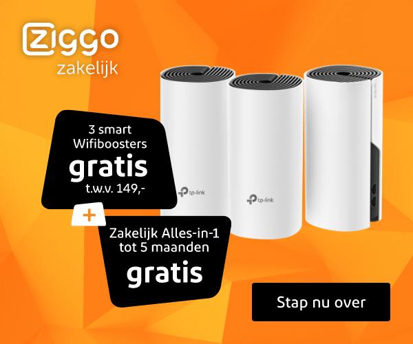 4 maanden Gratis + 3 Wifi boosters bij Ziggo Zakelijk