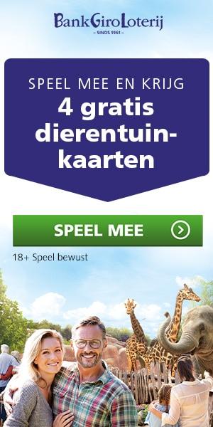 Ontvang 4 dierentuin kaarten van Bankgiro loterij
