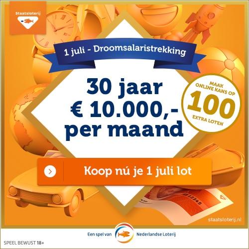 Win 30 jaar lang € 10.000 per maand in de Staatsloterij