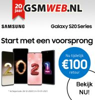 GSMWEB geeft € 100.- cashback bij Samsung telefoon