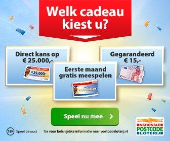 Gratis meespelen, Gratis €15.- of kans op € 25000.-! Postcode loterij!