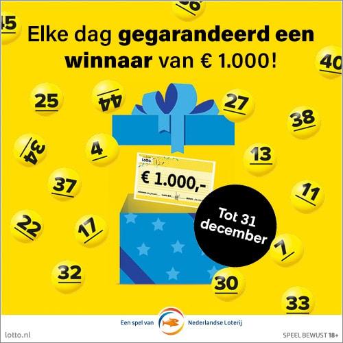 Met Lotto loten nu dagelijks € 1.000,- winnen