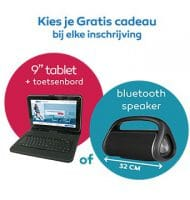 "NHA studie met Gratis 9"" tablet of bluetooth speaker"