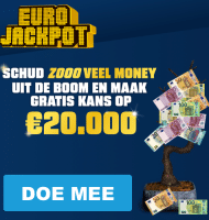 Eurojackpot Geldboom Schudden en € 20.000.- winnen