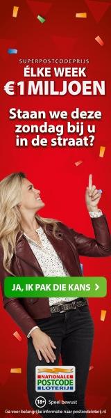 Postcode loterij actie Win elke week 1 miljoen