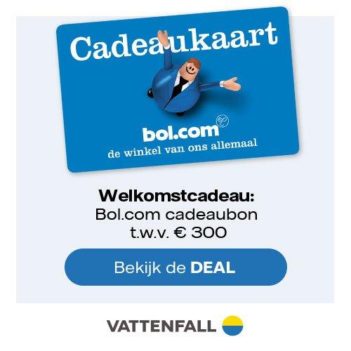 Lage Vattenfall tarieven en Bol.com cadeaubon t.w.v. € 300
