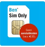 Ben Sim Only met Gratis aansluitkosten t.w.v. € 20.-