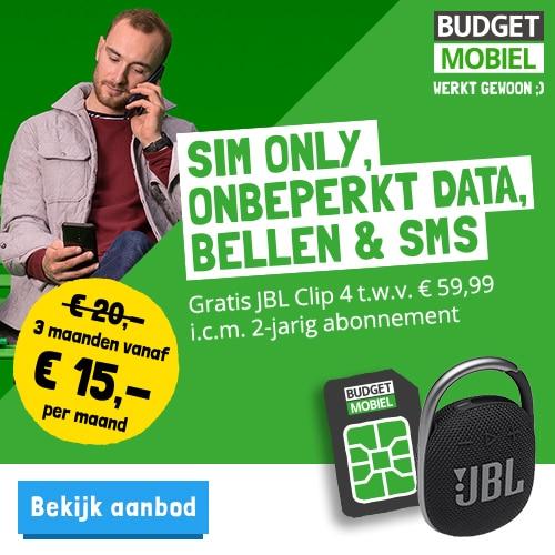 Budget Mobiel met gratis JBL Clip 4 t.w.v. € 59,95