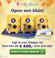 Wil je Gratis meespelen? Open een kluis en win € 400.-