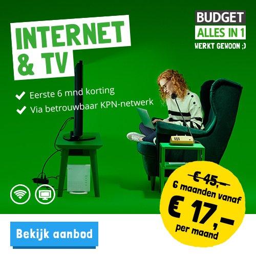 Budget alles in 1 nu 6 maanden korting op Internet en gratis TV