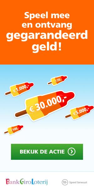 Ontvang gegarandeerd tot wel € 30.000,- bij Bankgiro loterij