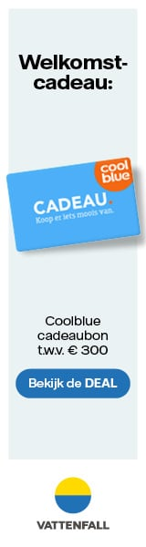 Vattenfall actie met gratis Coolblue Cadeaubon t.w.v. € 300,-