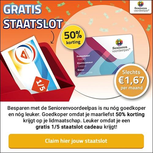 Seniorenvoordeelkaart nu €20 korting en een 1/5 Staatslot
