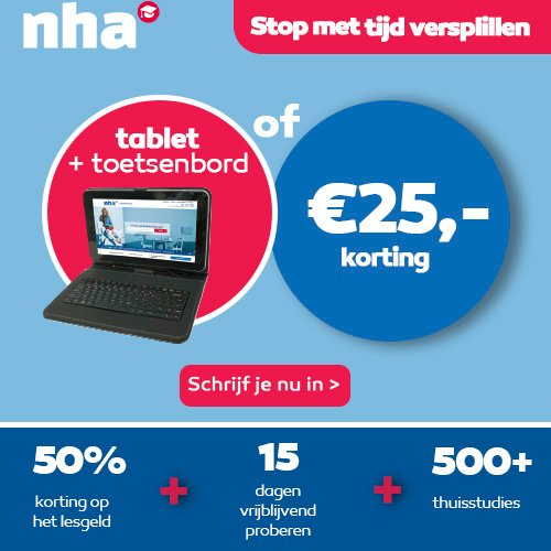 NHA studie met Gratis Tablet of € 25.- korting
