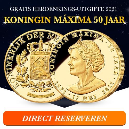 Gratis Herdenkingsmunt van Koningin Maxima 50 jaar