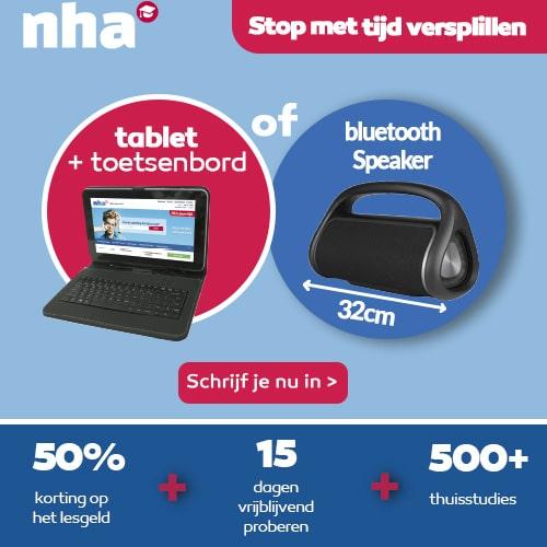 NHA studie met Gratis Tablet + bluetooth boombox