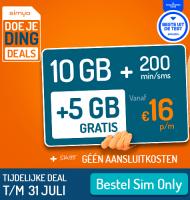 Bij Simyo Sim only Gratis aansluiten en extra 5 GB