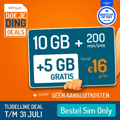 Wanneer je voor Simyo sim only kiest betaal op dit moment geen aansluitkosten t.w.v. € 14,99.