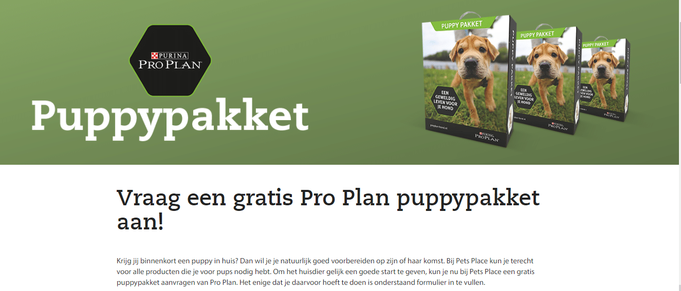 Gratis Purina Pro Plan Puppypakket t.w.v. € 20,-