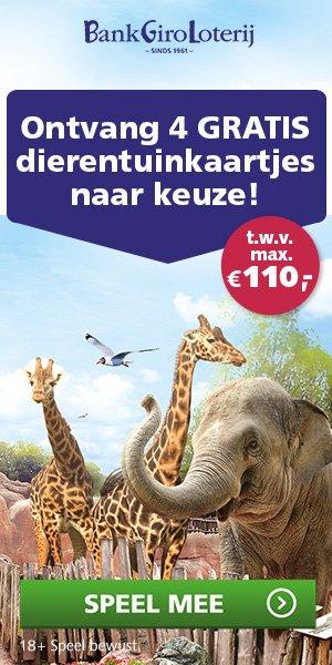 Ontvang 4 Gratis dierentuinkaartjes t.w.v. € 110.-.