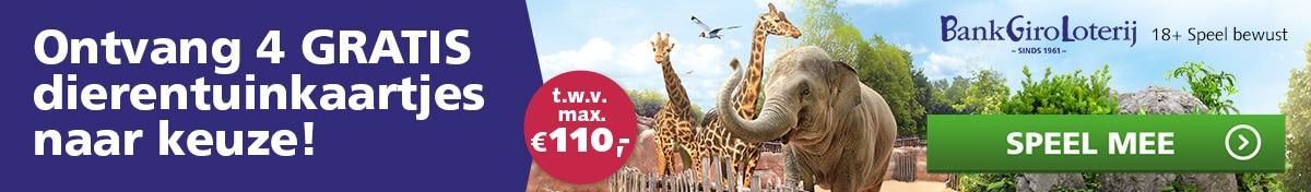 Gratis 4x Bankgiro Loterij dierentuinkaartjes t.w.v. € 110.-