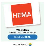 Bij Vattenfall Gratis HEMA cadeaukaart t.w.v. € 200