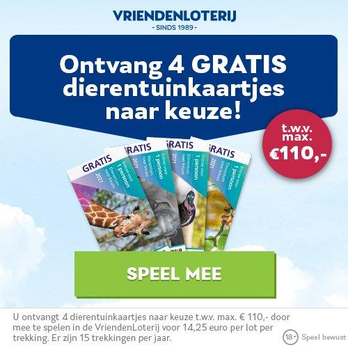 Gratis 4x VriendenLoterij dierentuinkaartjes t.w.v. € 110.-