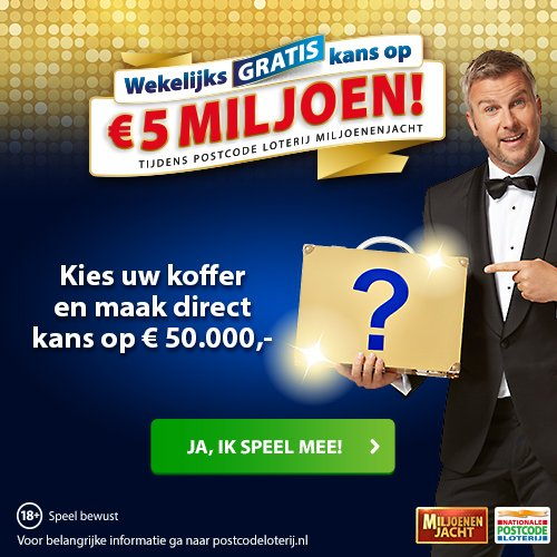 Postcode loterij miljoenenjacht! Kies je koffer
