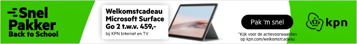 KPN Internet en TV een Gratis Microsoft Surface GO 2 t.w.v. € 459,-