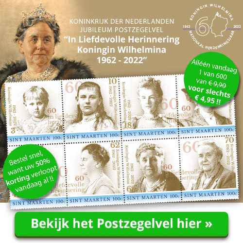 Postzegelvel Koningin Wilhelmina 50% korting