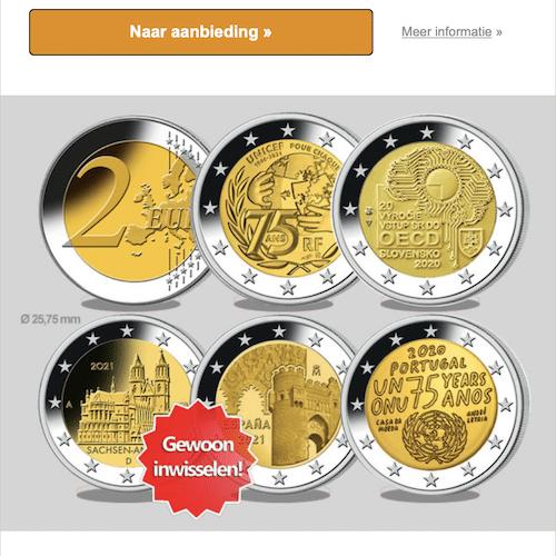 Ruil Gratis 5x 2-Euro om in Herdenkingsmunten